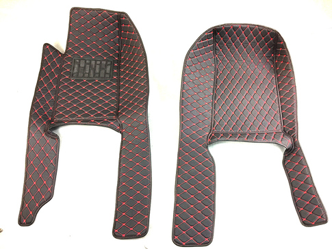 CarbonMiata Quilted Floor Mats (NA/NB) - Black/Red for Miata