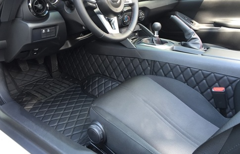 Carbonmiata Quilted Floor Mats Nd Fiat 124 Black Black For