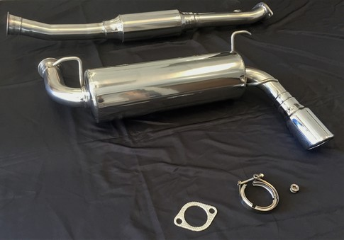 COMPLETE PREMIUM HELMHOLTZ CHAMBER Cat-Back RoadsterSport 4 Miata Polished Stainless Steel Exhaust for 90-97 for Miata 1990-1997