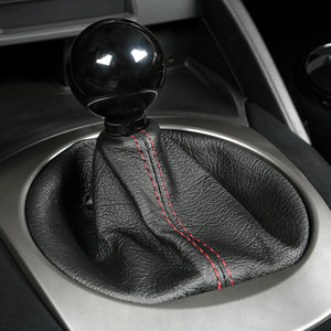Leather Shift Boot - Black w/ Red Stitching