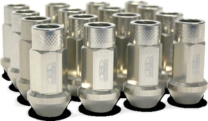 Blox Forged Aluminum Lug Nut Set - Silver 12 x 1.5MM (16 PC. SET)