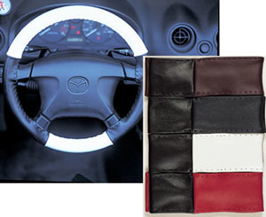 Leather Steering Wheel Cover - Blue/Black - Standard 4 Spoke