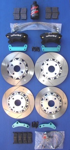 MIATA BIG BRAKE KIT, Version 4 OUR BEST FOUR WHEEL KIT with Forged Four Piston Calipers